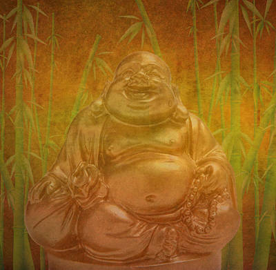 Laughing  Buddha Art Print by Art Spectrum