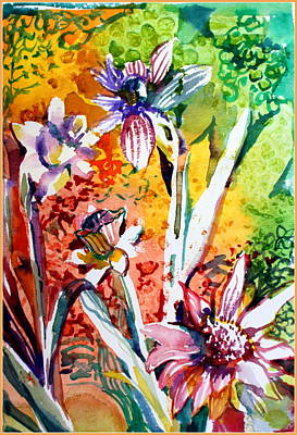 Surrealism Drawing - Laughing Flowers by Mindy Newman