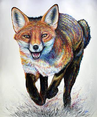 Fox Painting - Laughing Fox by Teshia Art