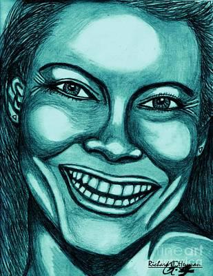 Laughing Girl In Blue 2 Art Print by Richard Heyman