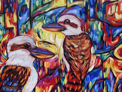 Painting - Laughing Kookaburras At Opal Cavern by Dianne  Connolly