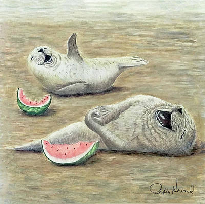 Watermelon Drawing - Laughing by Phyllis Howard