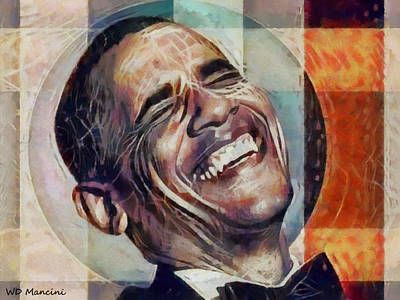 Laughing President Obama V2 Art Print by WD Mancini