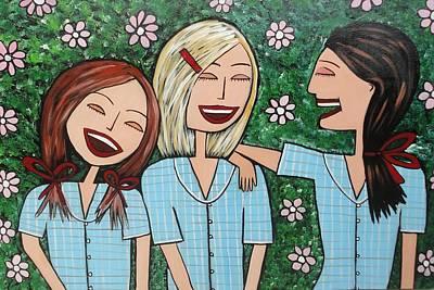 Painting - Laughing Schoolgirls by Elizabeth Langreiter