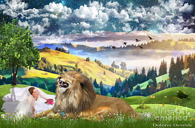 Laughing With The King Of Glory Art Print by Dolores Develde