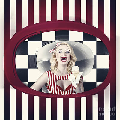 Retro Art Photograph - Laughing Woman Inside A Vintage Ice Cream Shop by Jorgo Photography - Wall Art Gallery