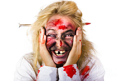 Crazing Photograph - Laughing Zombie With Nail Through Head by Jorgo Photography - Wall Art Gallery