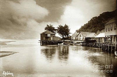 Photograph - Launch Leaving Flagstaff Inn At Bolinas June 1905 by California Views Mr Pat Hathaway Archives