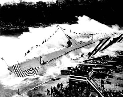 Photograph - Launching Of The U S S Robalo Submarine 1943 by Peter Gumaer Ogden Collection