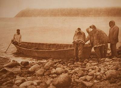 Launching The Boat - Diomede Island , Native American By Edward Sheriff Curtis, 1868 - 1952 Art Print