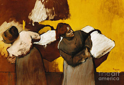 Ethnicity Painting - Laundresses by Edgar Degas