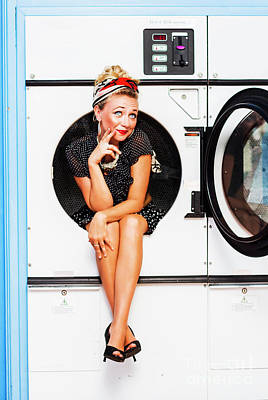 Contemplative Photograph - Laundromat Pin-up Portrait by Jorgo Photography - Wall Art Gallery