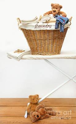 Laundry Basket With Teddy Bears On Floor Art Print by Sandra Cunningham