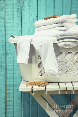 Photograph - Laundry Basket With Towels by Sandra Cunningham