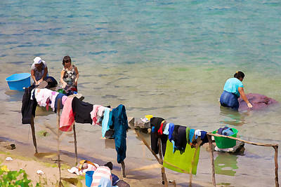 Photograph - Laundry Day In Guatemala 2 - Digital Paint by Tatiana Travelways
