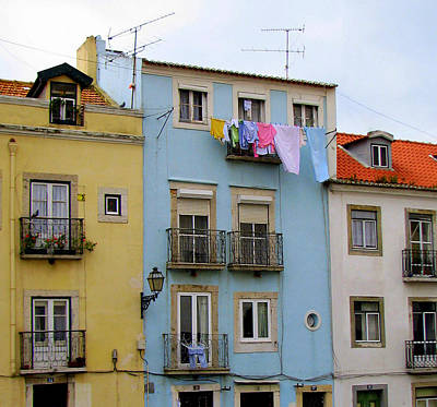 Gas Lamp Quarter Photograph - Laundry Day In Lisbon by Carla Parris