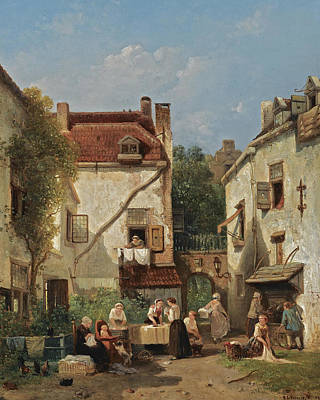 Painting - Laundry Day by Salomon Leonardus Verveer