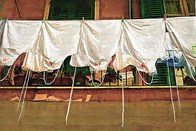 Laundry Day The Italian Way Art Print by Lynn Andrews