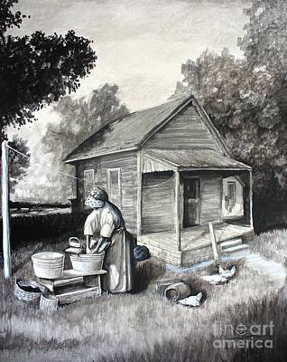 Texas Farm House Painting - Laundry Day by Theon Guillory