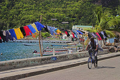 Laundry Drying- St Lucia. Art Print by Chester Williams