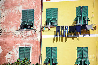 Photograph - Laundry Hanging In Vernazza, Cinque Terre, Italy by Global Light Photography - Nicole Leffer