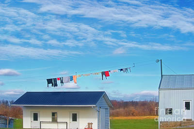 Amish Photograph - Laundry In The Clouds by David Arment