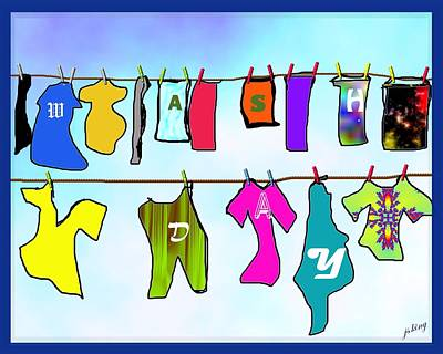 Clothespins Digital Art - Laundry Wash Day by Jacquie King