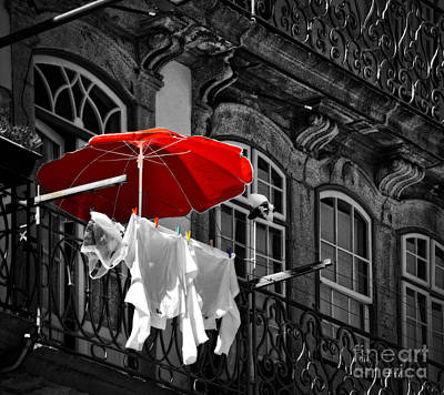Selective Color Digital Art - Laundry With Red Umbrella In Porto - Portugal by Mary Machare