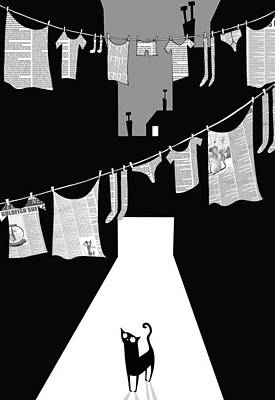 Alley Drawing - Laundry by Andrew Hitchen