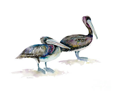 Sea Birds Painting - Laurel And Hardy, Brown Pelicans by Amy Kirkpatrick