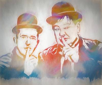 Cuckoo Mixed Media - Laurel And Hardy by Dan Sproul