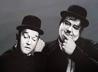 Babes Wall Art - Painting - Laurel And Hardy by Paul Meijering