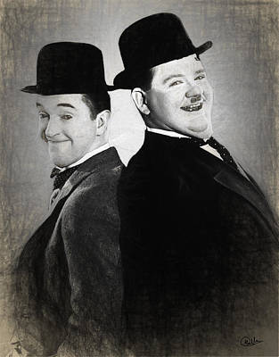 Hardy Drawing - Laurel And Hardy Draw by Quim Abella