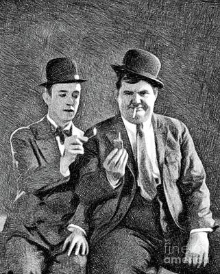 Musicians Drawings - Laurel and Hardy, Vintage Comedians by JS by Esoterica Art Agency