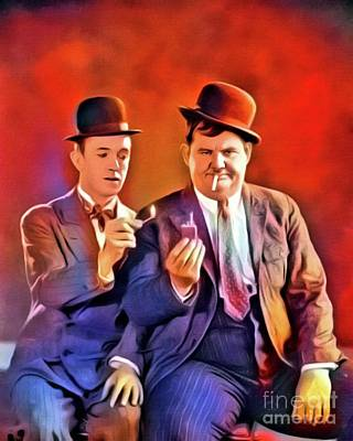 Business Digital Art - Laurel And Hardy, Vintage Comedians. Digital Art By Mb by Mary Bassett