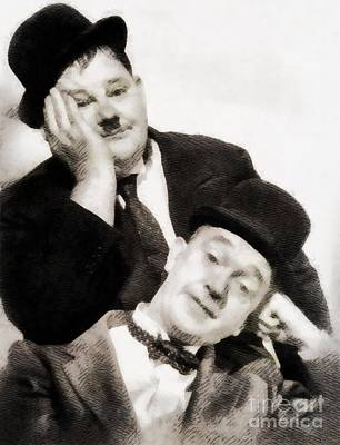 Laurel And Hardy, Vintage Comedians Art Print by John Springfield
