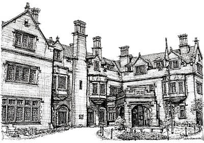 Ink Drawing Drawing - Laurel Hall In Indianapolis by Adendorff Design