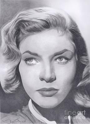 Drawing - Lauren Bacall by Karen Townsend