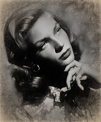 Lauren Bacall Drawing - Lauren Bacall by Quim Abella