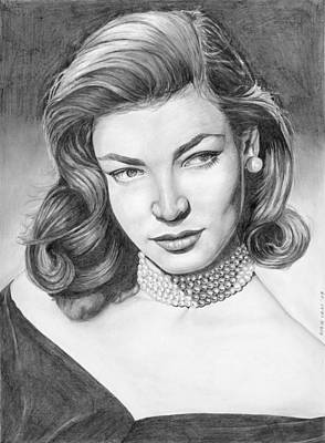 Drawing - Lauren Bacall by Rob De Vries