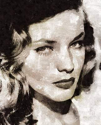 Lauren Bacall Painting - Lauren Bacall, Vintage Actress. By Mary Bassett by Mary Bassett