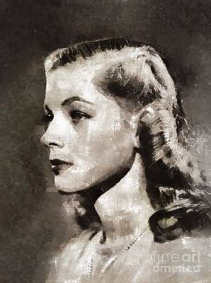 Lauren Bacall Painting - Lauren Bacall, Vintage Actress by Mary Bassett