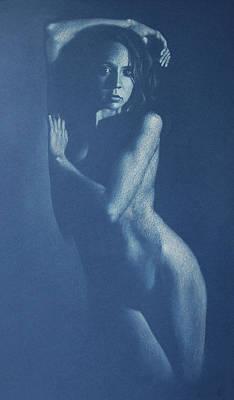 Lauren In Blue Art Print by Alan Stevens