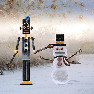 Photograph - Laurence Builds A Snowman by Joan Ladendorf