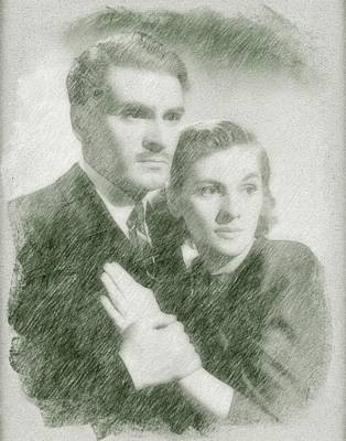 Musicians Drawings Rights Managed Images - Laurence Olivier and Joan Fontaine Royalty-Free Image by John Springfield