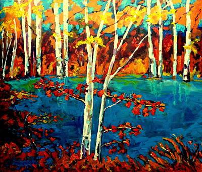 Laurentians Painting - Laurentian Birch Trees by Carole Spandau
