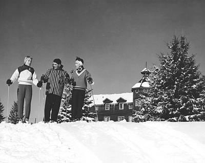 Laurentians Photograph - Laurentian Mountain Skiers by Underwood Archives