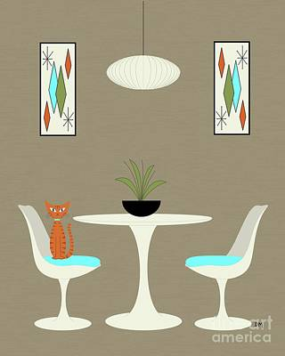 Digital Art - Knoll Table 2 With Orange Cat by Donna Mibus