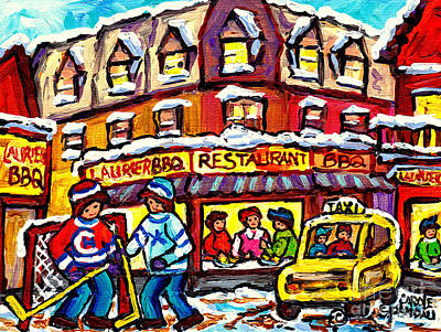 Painting - Laurier Bar B Q Restaurant Paintings  Montreal Winter Street Scenes Hockey Art Canadian Artist  by Carole Spandau
