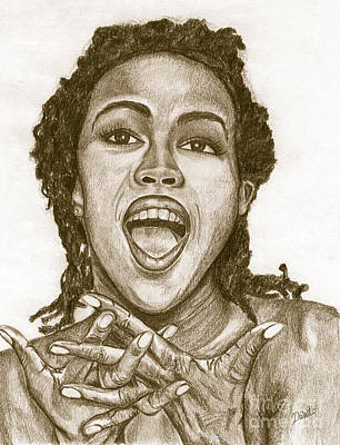 Charcoal Painting - Lauryn Hill by Debbie DeWitt